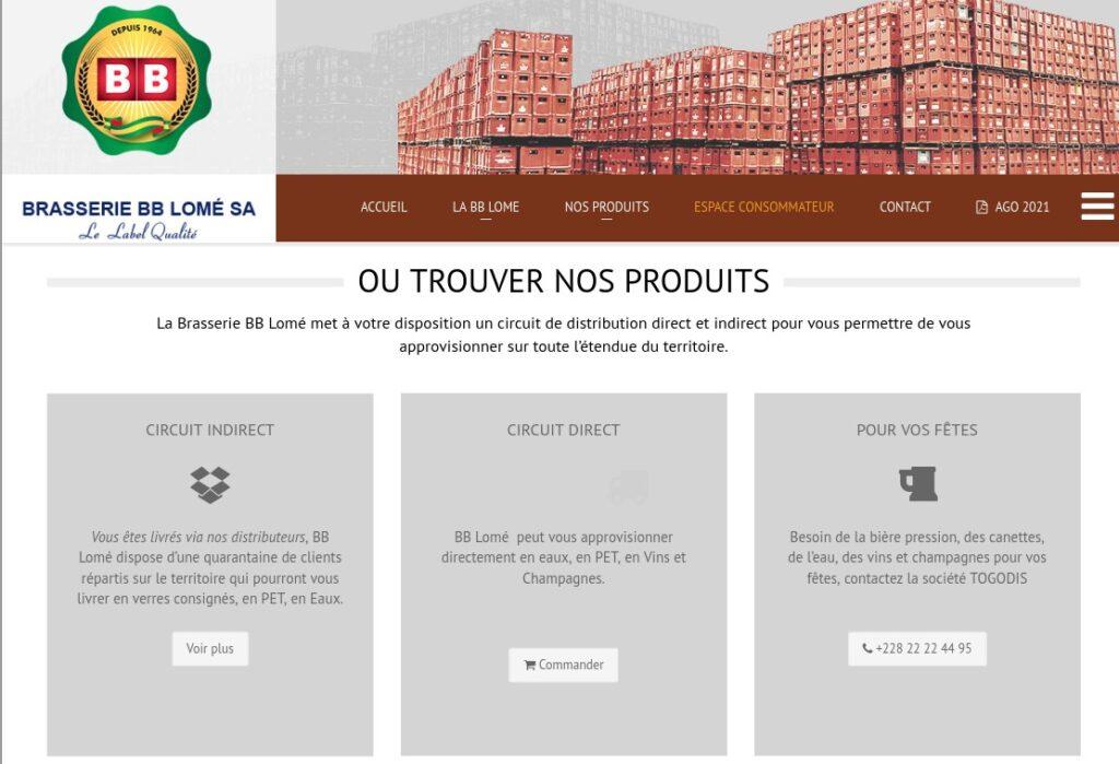 Espace consommateur sur le site de la Brasserie BB Lomé SA