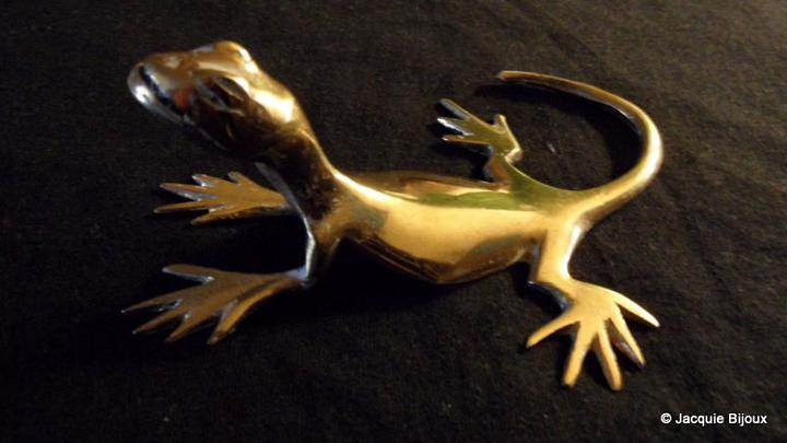 Figurine lézard en bronze